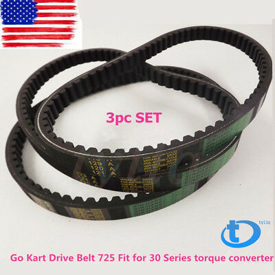 partman Go Kart Drive Belt 725 For 30 Series torque converter 3pc SET 3 belts