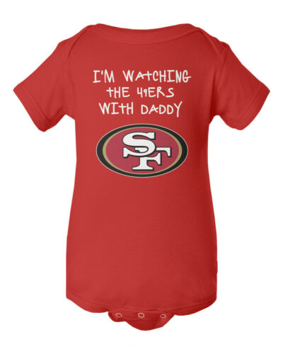 San Francisco 49ers Watching With Daddy Baby Short Sleeve Bodysuit
