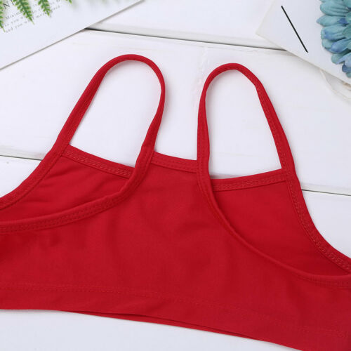 Kids Girls Metallic Ballet Gymnastics Crop Top Sports Gym Fitness Bra Underwear