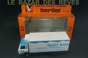 """LOUIS SURBER. BERLIET GR 190. promotionnel """"DANIEL BEAU""""+ Boite.Echelle 1/43"""