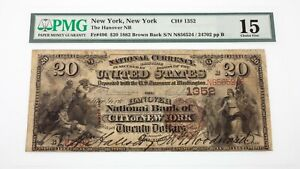 1882-Brown-Back-20-National-Currency-Note-Fr-496-Hanover-NB-Ch-1352-Fine-15