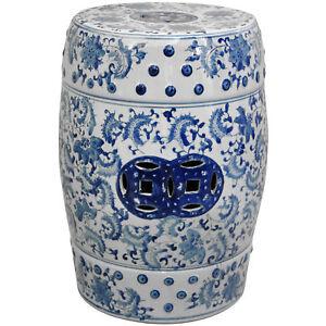 Brilliant Details About Oriental Furniture 18 Floral Blue White Porcelain Garden Stool Inzonedesignstudio Interior Chair Design Inzonedesignstudiocom