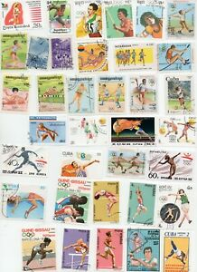 SPORTS-on-STAMPS-ATHLETICS-100-All-Different-Off-Paper