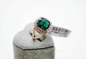 Wedding-Engagement-Emerald-Green-18K-Rose-Gold-simulated-diamond-Ring-size-8