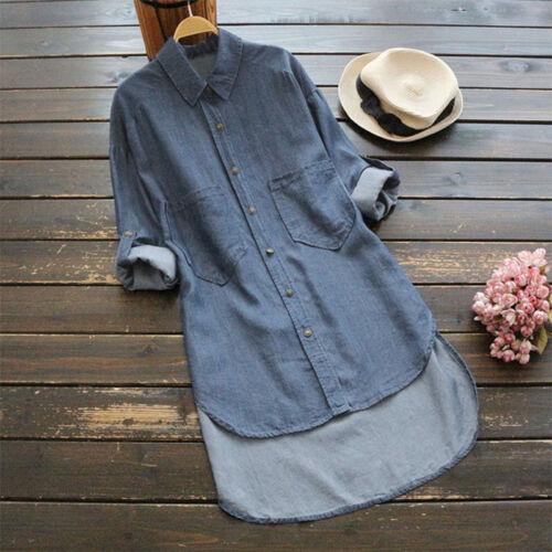 Übergröße Damen Langarm Jeanskleid Hemd Tunika Bluse Denim Longshirt Langhemd DE