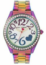 BETSEY JOHNSON BJ00624-01 Women's Rainbow Oil Slick Stainless Steel Watch NEW**