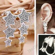 CLIP ON crystal STAR DROPS EARRINGS silver rhinestone SPARKLY STARS drop clips