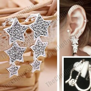 CLIP-ON-crystal-STAR-DROPS-EARRINGS-silver-rhinestone-SPARKLY-STARS-drop-clips