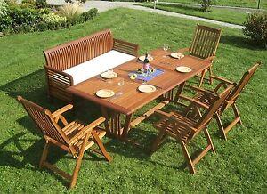 Garten Sitzgruppe Holz Seven Eckig Sitzgarnitur Terrasse Tisch Bank