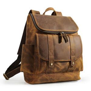 Vintage-Large-Men-039-s-Leather-15-034-Laptop-Backpack-Hiking-Travel-Outdoor-Handbag