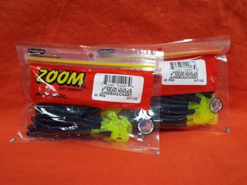 "20cnt ZOOM 4/"" Dead Ringer 2 PCKS #017-123 Junebug//Chartreuse"