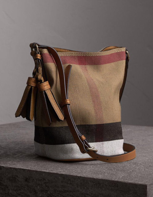 840ee2e39a7b Burberry Peyton Canvas Check Crossbody Bag Clutch Saddle Brown ...