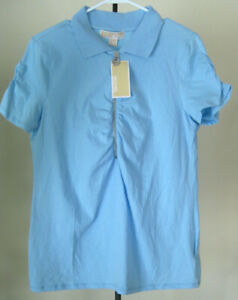 NWT-Women-039-s-MICHAEL-KORS-Short-Sleeve-1-2-Zip-Top-Size-Large-Solid-Blue-Cotton