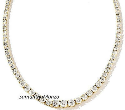 """18""""  Round Graduated Brilliant Cut Signity Cz Tennis Necklace Earrings Gold GP"""