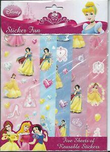 Disney-Princess-Party-Supplies-Favour-Sticker-Fun-5-Sheets-of-Reusable-Stickers