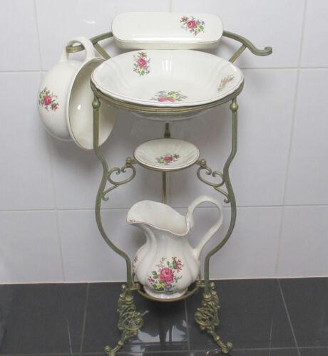 Ständer Antik Lavabo Waschschüssel Krug Seifenschale Nachttopf Rosen Waschset