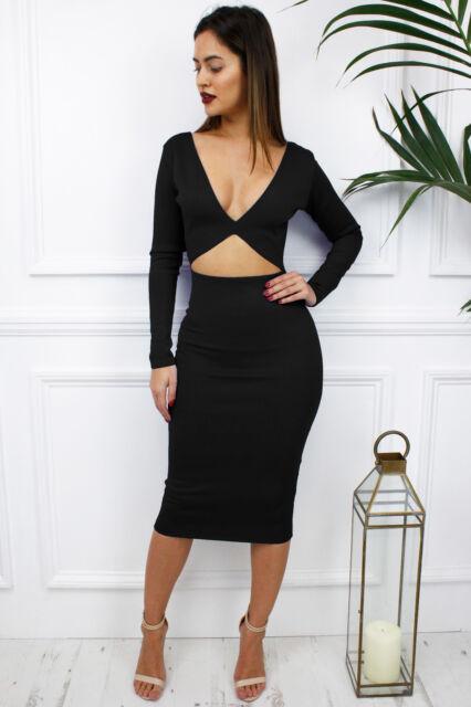 597f3b5cda UK New Black Reversible Cut Out Long Sleeve Midriff Midi Plunge Dress  Glamzam