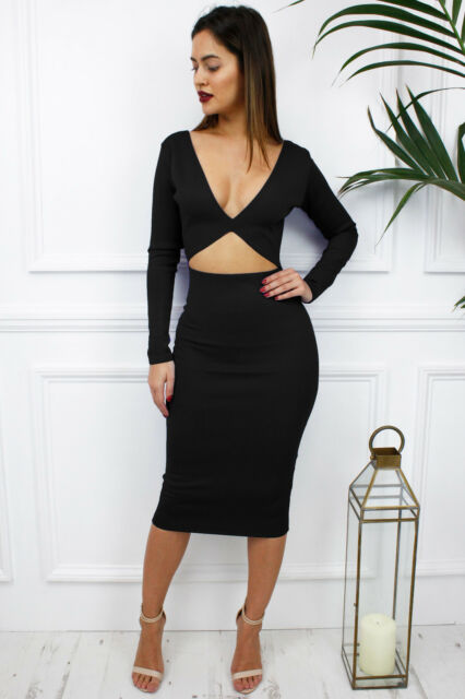 1d68a0fcbb UK New Black Reversible Cut Out Long Sleeve Midriff Midi Plunge Dress  Glamzam