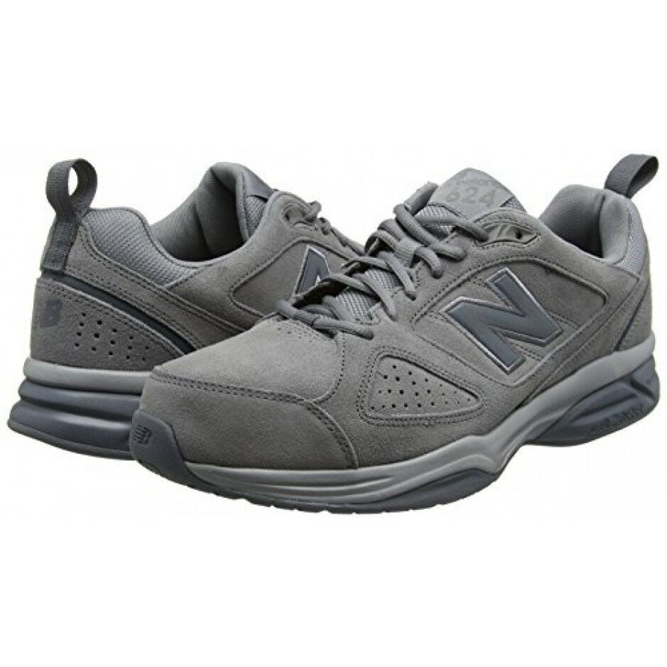 New Balance Men's MX624GR4 Grey Suede 2E Wide Trainers