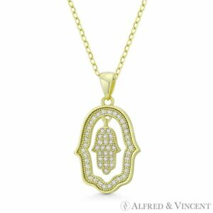 Hamsa-Hand-Evil-Eye-Luck-Charm-925-Sterling-Silver-CZ-Crystal-Necklace-Pendant