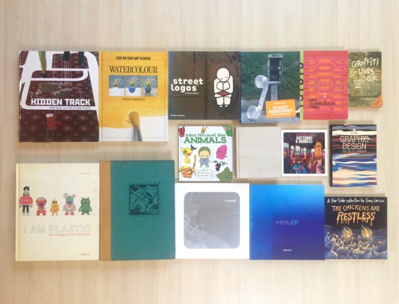 Large collection of Boutique Design, Art and illustration display books