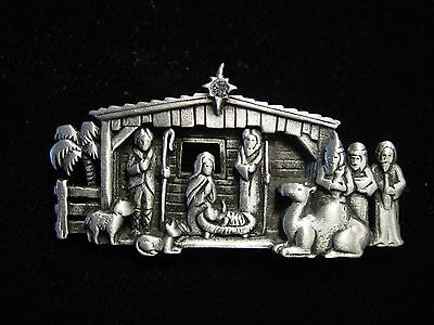 """JJ"" Jonette Jewelry Silver Pewter 'Realistic NATIVITY Scene' Christmas Pin"