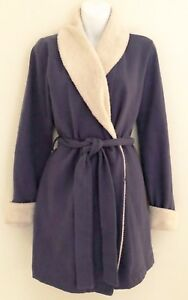 VICTORIAS-SECRET-Womens-Robe-Sz-S-Purple-Short-Belted-Pockets-Sherpa-Trim