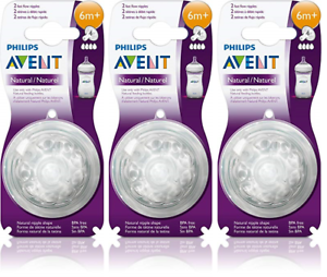 2 Count Fast Flow 6m+ 3 Pack Philips AVENT BPA Free Natural Nipple Shape