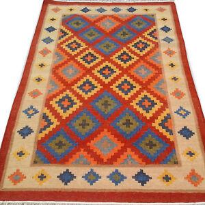 Nomadic Tribal Red Wool Kilim Rug