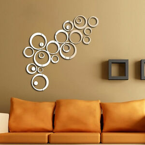 24X-Kreis-DIY-3D-Spiegel-Spiegel-Wandtattoo-WandDekor-Zimmer-Aufkleber-NEW