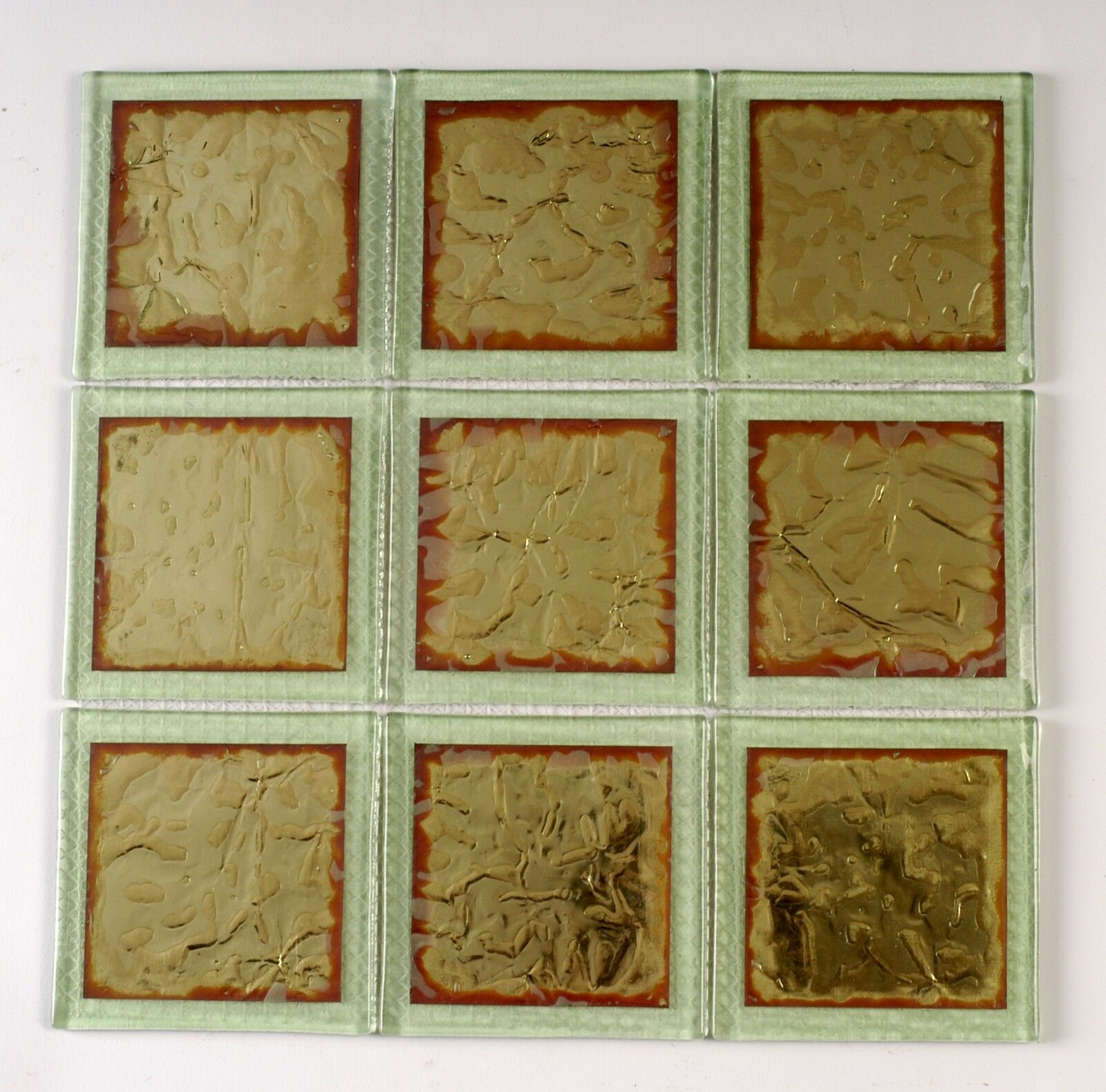 10 SQFT Glass Tiles on Mesh Mount FiROT Copper Grün - FREE SHIP IN USA