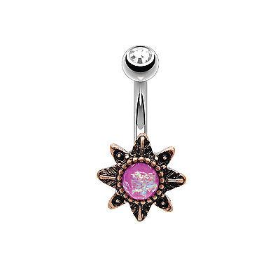 Piercings Honest 14g Piercing Ombligo Estilo Victoriano Estrella Morado Created-opal Rosa Gol Last Style Relojes Y Joyas