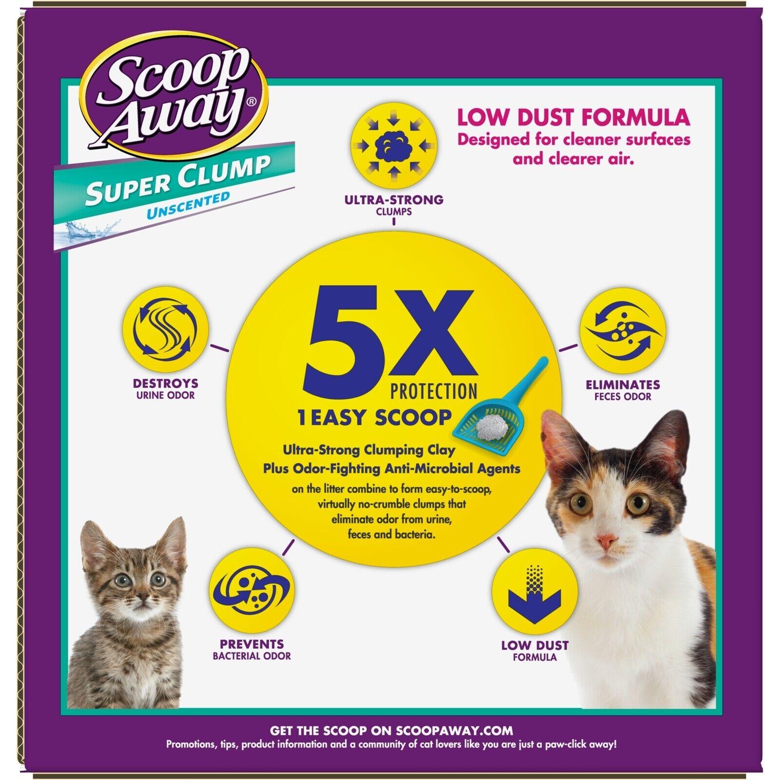Scoop Away Super Clump, Unscented Cat Litter 100 LB (Pack of 4 x 25 Lb)