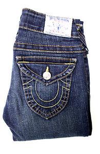 True-Religion-Billy-Womens-Jeans-Low-Rise-Straight-Leg-Denim-Blue-USA-Size-24x29