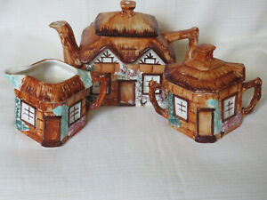 KEELE ST POTTERY CO. of  ENGLAND  Cottage Ware Teapot Creamer and Sugar (P4)