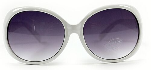 Nouveau femme blanc grand cadre rétro vintage 80s lunettes de soleil UV400 classique