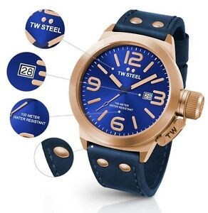 TW-Steel-Watch-CS61-Canteen-45MM-Blue-amp-Rose-Gold-w-Blue-Leather-COD-PayPal