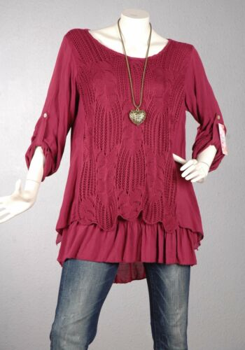 Kaschierwunder linie Bluse Pullover Spitze Top 107 44 Trendy Tunika Shirt 46 A xqwzxOAUR