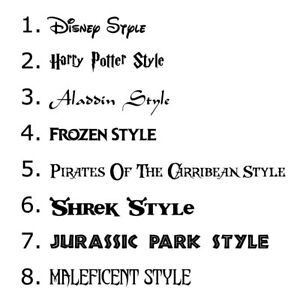 Personalised Sticker Name Word Label Wall Art Disney Font Decal