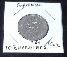 Very Nice 1984 Greece 10 Drachmes Coin