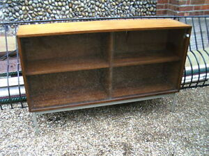 "1970s Beautility 1970's Sideboard With Glass Doors And Metal Legs 54""x13""x34"" High Quality Goods"