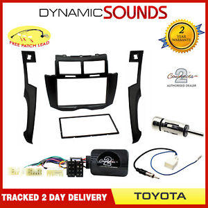 Car-Stereo-Radio-Double-Din-Fascia-amp-Steering-Wheel-Kit-for-Toyota-Yaris-MK2