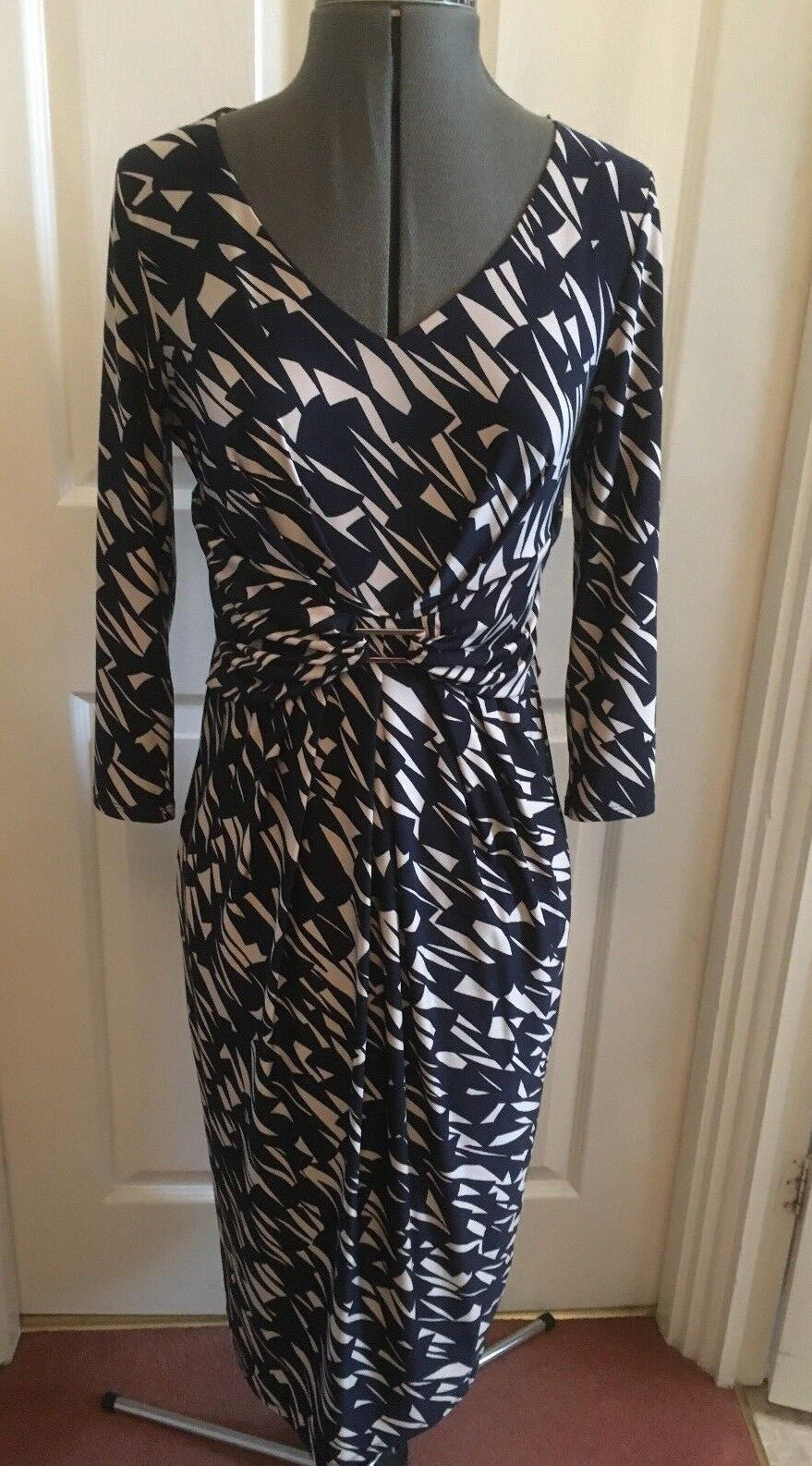 NEW Country Casuals House of Fraser Navy Stone Midi Dress S (RRP .90)