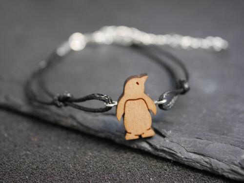 negro Pulsera con madera pingüino-hielo-Pájaro-Wood