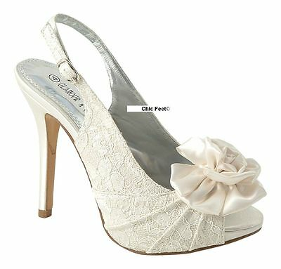 WOMENS LADIES IVORY LACE EVENING WEDDING BRIDAL PROM HIGH HEEL SANDALS SHOES 3-8