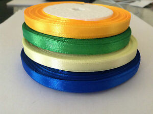 2-x-23-yard-rolls-of-6mm-Satin-Ribbon-Orange-Yellow-Green-or-Blue