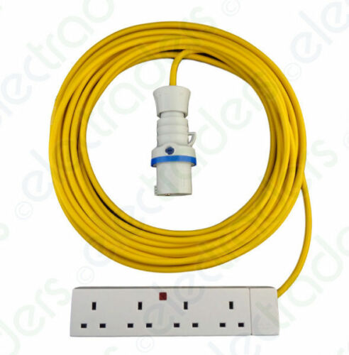 30 Metre Yellow Hook Up Extension Cable 2.5mm 16A Blue Plug /& 4G Socket