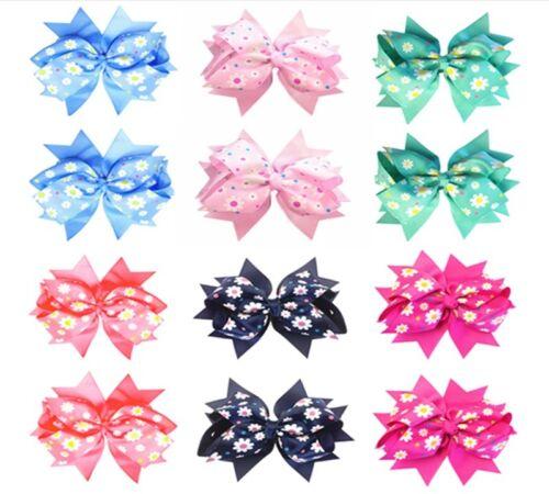 Pack of 12 Girls Sunflower Grosgrain Ribbon Huge Double Layer Big Hair Bows