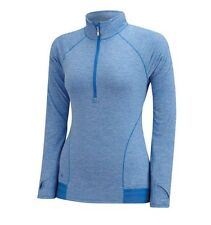 ADIDAS Womens Blue Advance Heather Golf Range Wear 1/2 Zip Sweater Medium 12 NEW