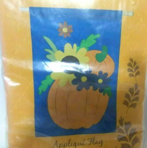"Evergreen Decorative House Flag 28/"" x 44/"" Pumpkins /& Flowers"